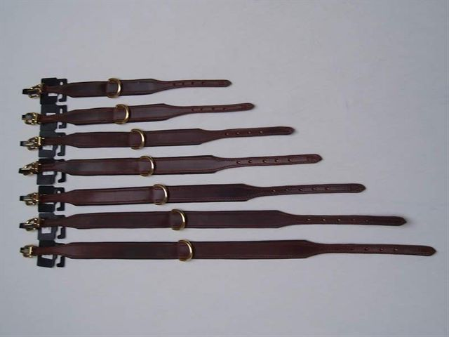 HB LUXE honden halsband bruin leer goudkleurige gesp 35 40 50