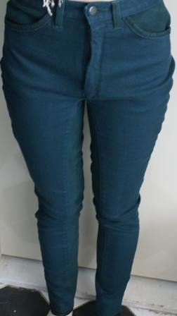 Hactac jodphur broek 3/4 leer jeans stof groen maat 38