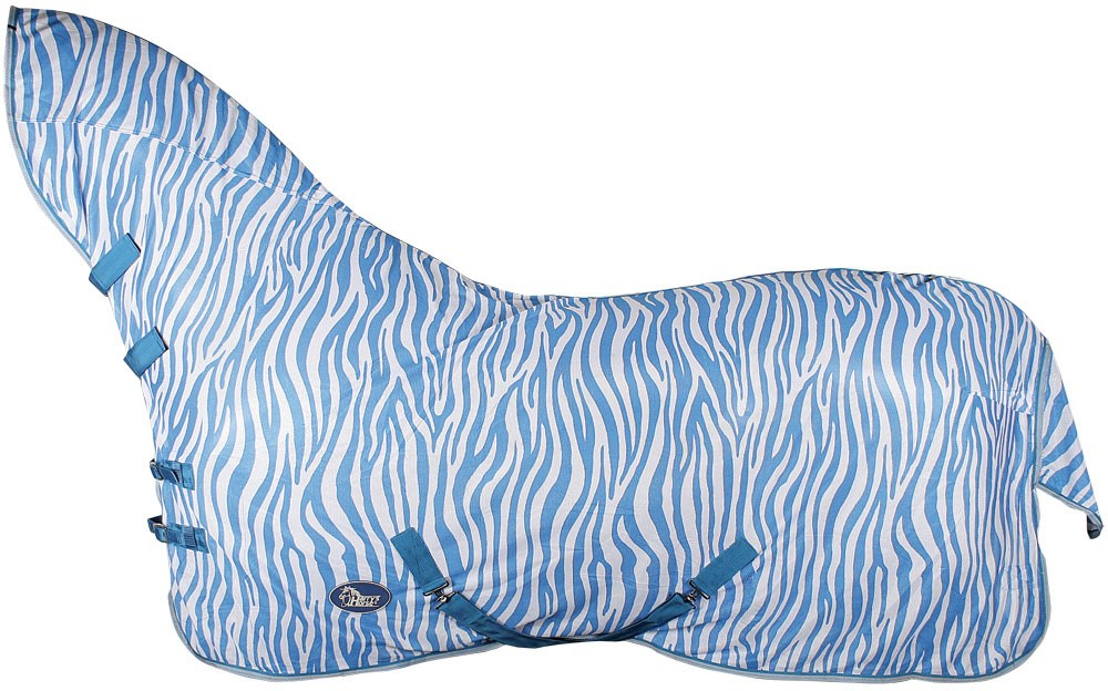 Harry's horse Vliegendeken mesh met hals & singels, zebra french blue 195