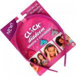 Diadeem met 3 clickers roze